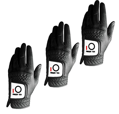 - FINGER TEN Mens Golf Glove Rain Grip Value 3 Pack, Black White Left Hand Fit Right Handed Golfer, All Weather Durable Grip Size Small Medium Large XL (Black, Large)