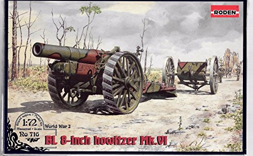 PLASTIC MODEL BUILDING WEAPONS KIT GUN BL 8-INCH HOWITZER MK.VI 1/72 RODEN 716