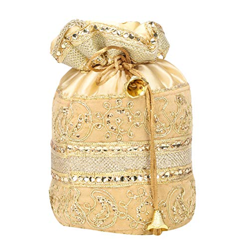 Indian Satin Potli Bag with Attractive Handicraft Thread Work for Female - Golden