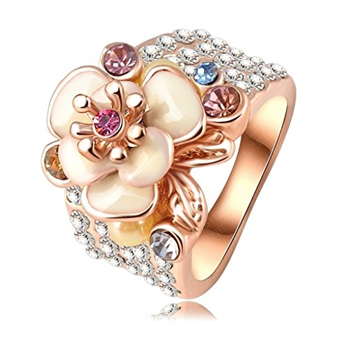 Bishilin 18K Gold Plated Fashion Women's Rings Austrian Crystal Enamel Flower Rose Gold Size 8