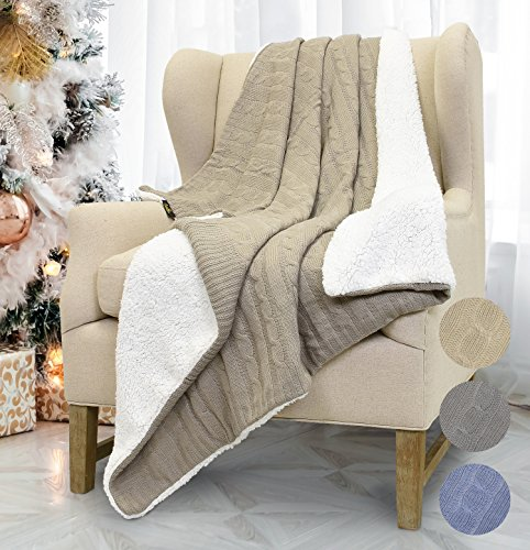 (Catalonia Cable Knit Sherpa Throws, Reversible Super Soft Sherpa Sweater Blanket Warm Cozy for Couch Bed 60x50 Latte)