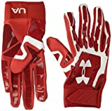 Under Armour men's  Heater Baseball Batting Gloves,Red (600)/White,Youth Medium