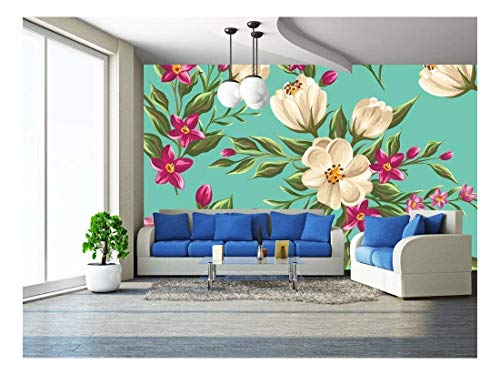 wall26 - Spring Seamless Pattern with Bright Flowers - Removable Wall Mural | Self-Adhesive Large Wallpaper - 66x96 ()