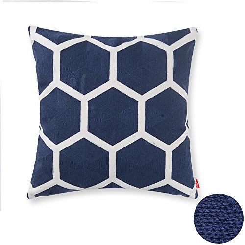 Baibu Designer Decor Throw Pillow Case Geometric Embroidery Teal Accent  Pattern Cushion Covers For Sofa Pillows Darkblue