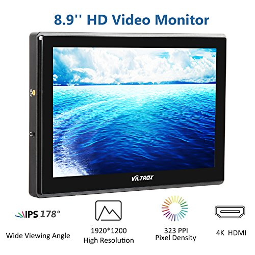 VILTROX DC-90HD 4K HDMI Monitor Full HD 1920x1200 IPS 8.9'' Clip-on LCD Camera Video Monitor Display HDMI AV Input for Canon Nikon DSLR BMPCC, Battery with Charger(Included) … by VILTROX (Image #1)