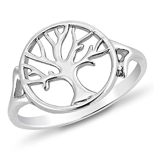 925 Sterling Silver Open Filigree Tree of Life Symbol Round Band Ring for Women Size 7