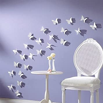 Superbe NYKKOLA White 24PCS 3D Butterfly Wall Stickers Decor Art Decorations 3 Size  (1, White