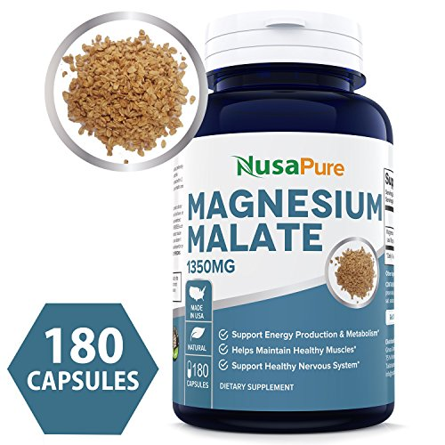 Best Magnesium Malate 1350mg 180 Capsules (Non-GMO & Gluten Free) High Potency - Supports Energy Production, Healthy Metabolism, Muscles Function & Nerve Function - 100% Money Back Guarantee!