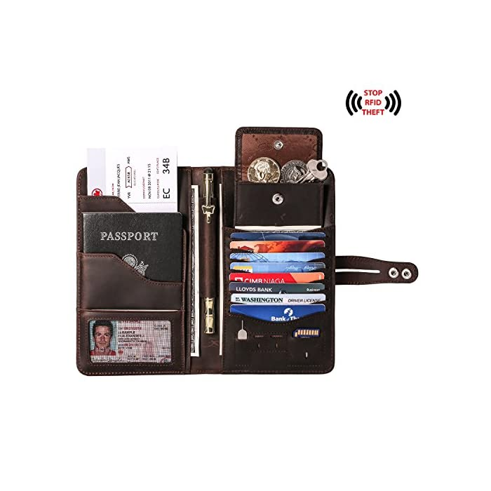 911ca04a8 ... RFID Blocking Awesome Passport Wallet Credit Cards Holder Document  Organizer Genuine Leather. Sale! On Sale