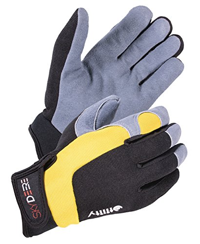 SKYDEER Hi-Performance Super Soft Deerskin Leather Suede Utility Grip Work Gloves (Grey L) by SKYDEER