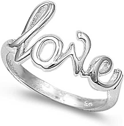 Sterling Silver Love in Script Ring Silver (Sizes 2-15)