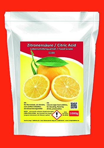 1000g Zitronensäure 1 Kg Lebensmittelqualität 1kg E330 Weichspüler Entkalker Bio Kalklöser kristallin Beutel weiß