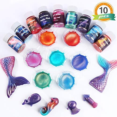 Pigmentos perlados para resina epoxy 10 colores 9.90gr c/u