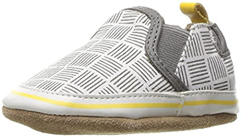 Robeez Boys' Liam Crosshatch Loafer, Grey, 12-18 Months M US Infant