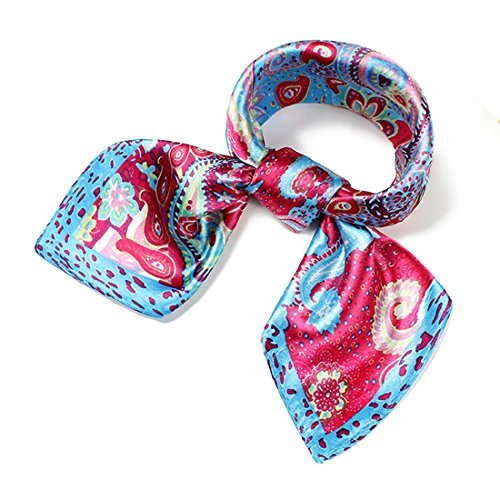 Little Mass 2 Piece (Women's Silk Feel Neck Head Square Scarf Hair Wrap Fashion Paisley Pattern 23