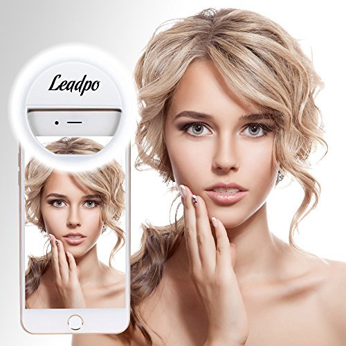 Selfie Ring Light, Leadpo 36 LED for iPhone Samsung Galaxy Sony, Motorola and Other Smart Phones, 3-Level Brightness LED Clip On for All Smartphones/ Tablets, Great for Applying Make Up (Pearl White) ()