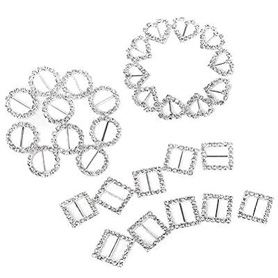 Pixnor Buckle Slider 30pcs Ribbon Buckle Sliders for DIY Craft Wedding Card Invitation
