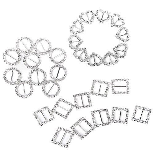 Rhinestone Heart Slide - Tinksky Ribbon Buckle Sliders for DIY Craft Wedding Card Invitation Heart Round Square Shape,Pack of 30(Silver)