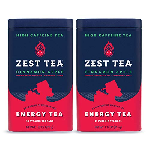 Zest Tea Premium Energy Hot Tea, High Caffeine Blend Natural & Healthy Traditional Coffee Substitute, Perfect for Keto, 150 mg Caffeine per Serving, Apple Cinnamon Black Tea, Tin of 30 Sachet Bags