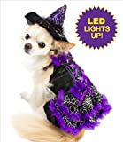 "Witch Costume For Dogs - Purple with LED - Size 4 (12.5"" l x 16"" - 18.5"" g)"