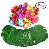 54 Pcs Tropical Party Decoration Supplies 8'' Tropical Palm Leaves and Hibiscus Flowers, Simulation Leaf for Hawaiian Luau Party Jungle Beach Theme BBQ Birthday Party Table Decorations Supplie