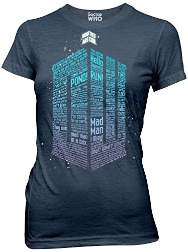(Ripple Junction Doctor Who Logo of Words Juniors Heather Navy T-Shirt XL)