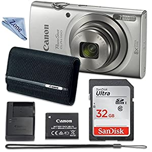 Canon PowerShot ELPH 180 Digital Camera (Silver) with 32GB Memory + CANON PSC-2070 CASE + CLOTH from Linen Zone