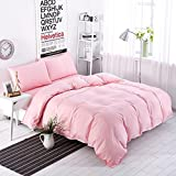 Hxiang 3-Pieces Pink Bedding 100% Microfiber Solid Color Bedding Set Pink Duvet Cover Set for Girls (queen)