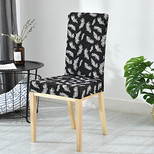 T-CYYT 2 Pieces Elastic Meeting Chair Set Simple Printed Dining Chair Set Hotel Hotel, Black
