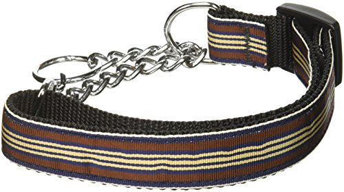 Mirage Pet Products Martingale Preppy Stripes Nylon Ribbon Collars, Medium, Brown/Khaki