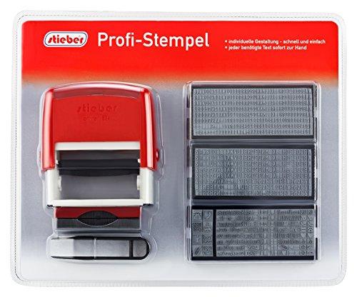 Stieber Profi Stempel 5 Zeilen SUPER MAXI SET 2015: 6 Typensätze, 2 Kissen, Stempelunterlage (Bügelfarbe unten wählbar) (Bügelfarbe rot)