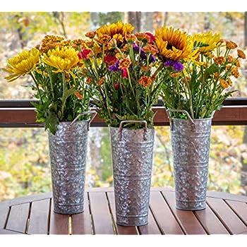 French Flower Bucket Galvanized Vase - 9