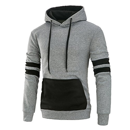 Mooncolour Mens Contrast Color Pullover Hoodie Cozy Sport Ou