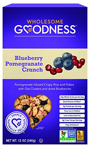 Wholesome Goodness Crunch Breakfast Cereal - Blueberry Pomegranate Crispy Rice and Flakes Cereal - Whole Grain Oat Clusters, Excellent Source of Protein  - 12oz, Pack of 6
