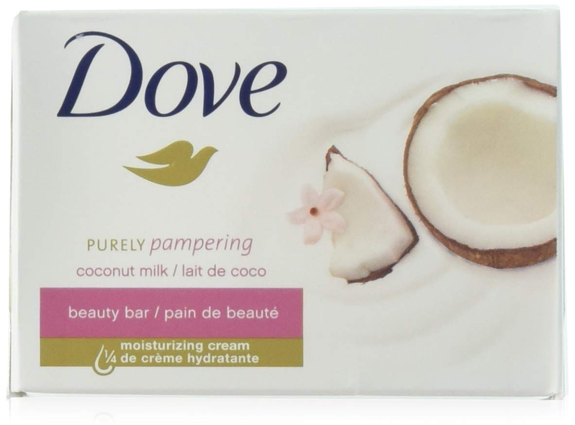 Dove Soap Beauty Bar, Coconut Milk Purely Pampering, 24-Pack. 25% Moisturizing Lotion & Cream. Hypo-Allergenic & Fragrance Free. Great for Hands, Face & Body! (24 Bars of Soap, 3.5oz Each Bar)