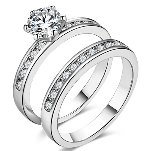 Women's Pretty 18K Platinum Plated Princess Cut 0.5 Carat CZ Anniversary Wedding Band Engagement Solitaire Ring Enhancer Bridal Sets Size (1/2 Carat Princess Cut Solitaire)