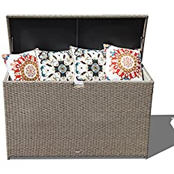 Orange Casual Patio Aluminum Frame Resin Wicker Storage Bin Deck Box 140-Gal (Tan)