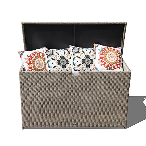 Orange Casual Patio Aluminum Frame Resin Wicker Storage Bin Deck Box 140-Gal (Tan) ()