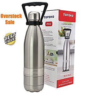 TOPOKO 25 OZ Stainless Steel Water Bottle Leak Proof Bottle,BPA free Metal Lid With Handle (25oz-colabottle)