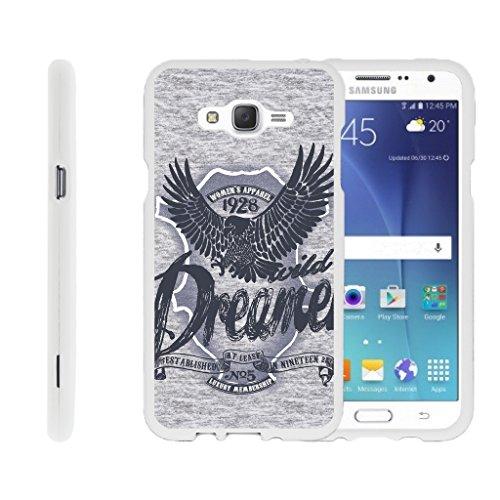 TurtleArmor | Compatible for Samsung Galaxy J7 Case (2015) | J700 [Slim Duo] Slim Snap On 2 Piece Hard Cover Protector Matte Unique Designs on White - Wild Eagle (Protector Dreamer Design)