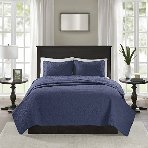 Madison Park Quebec Full/Queen Size Quilt Bedding Set - Navy, Damask – 3 Piece Bedding Quilt Coverlets – Ultra Soft Microfiber Bed Quilts Quilted Coverlet