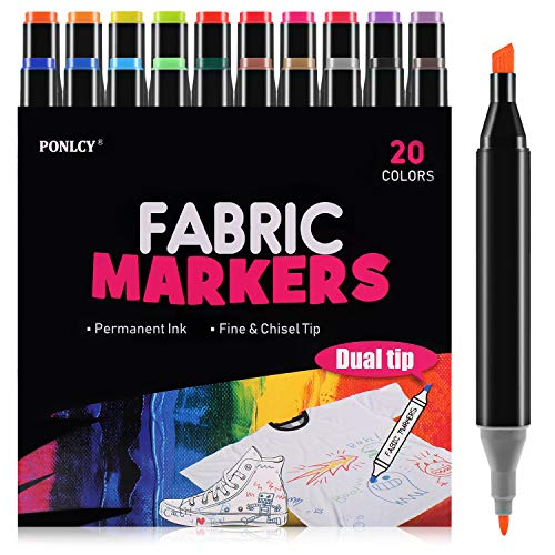 Fabric Markers Pens Permanent 20 Colors,Fabric Paint Art Markers Set with Dual Tips,Safe Graffiti Makers for Cloth Canvas Bags Shoes T-Shirts
