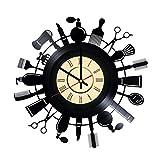 Hair stylist salon vinyl wall clock - great idea for hairdresser, hair stylist, barber, barbers - customize your clock