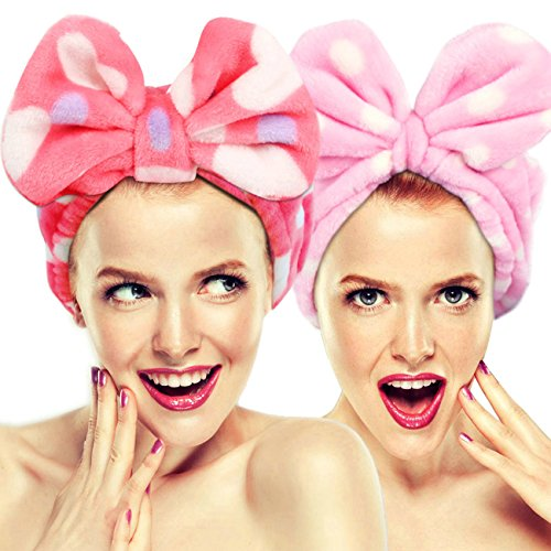 2 Pack Makeup Headbands for Washing Face Shower Spa Mask, Soft and Cute Hairizone Big Bow Hair Bands for Women and Girls (Pink Polka Dot/Red Heart Dot) - Spa Turban