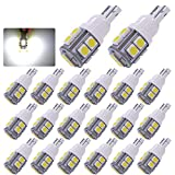 led 168 bulb - YITAMOTOR 20 x White T10 Wedge 10-SMD LED Light Bulbs W5W 2825 158 192 168 194,12V Car Interior Lighting for Map Dome Lamp Trunk Dashboard Parking Lights