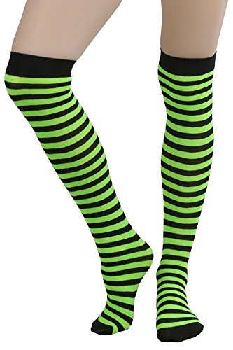 ToBeInStyle Women's Opaque Striped Knee High Warm Nylon Stockings Hosiery - Black with Neon Green Stripes - One Size: Regular