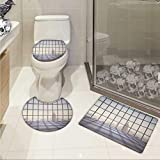 Carl Morris Modern 3 piece toilet mat set Big Office Windows Lattice Square Lines Apartment Urban City Skyscapers Print Printed Rug Set Pale Purple Beige