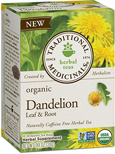Organic Dandelion Root Tea Bags - Traditional Medicinals Organic Dandelion Leaf and Root Tea, 16 Tea Bags