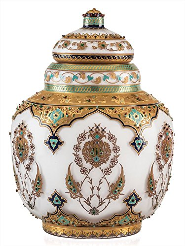 The Kavuk Decorative Vases Handmade Glass Gold Plated Relief Pattern