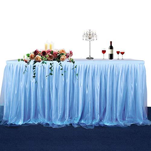 6ft 9ft 14ft Wedding Soft Tulle Tutu Table Skirt Tableware Birthday Decoration |Item - Blue 14ft| -